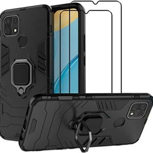 easylifego for oppo a15 kickstand case with tempered glass screen protector