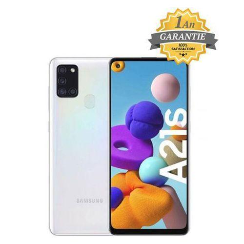 "Galaxy A21s - 6.5"" - 4Go - 128GB+ Pochette et Anticasse - Blanc- Garantie 1 an"