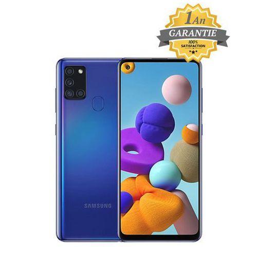 """Galaxy A21s - 6.5"""" - 4Go - 128GB + Pochette et Anticasse - Bleu - Garantie 1 an"""